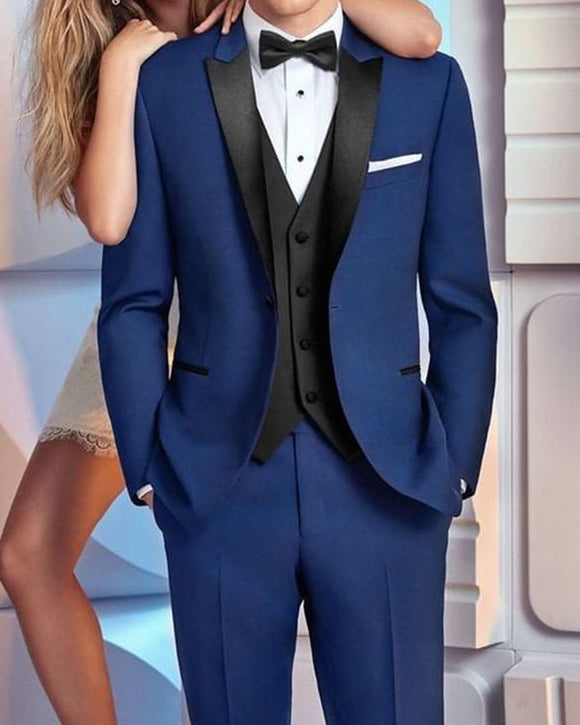 Black and Blue Wedding Tuxedos Peak Lapel  (jacket+pants+bow tie)
