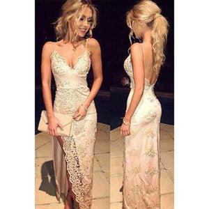 7dc0b48e87c Siaoryne LP024 Spaghetti Straps Champagne Lace Prom Dress mermaid Sexy evening  Gowns Long