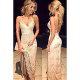 Siaoryne LP024 Spaghetti Straps Champagne Lace Prom Dress mermaid Sexy evening Gowns Long