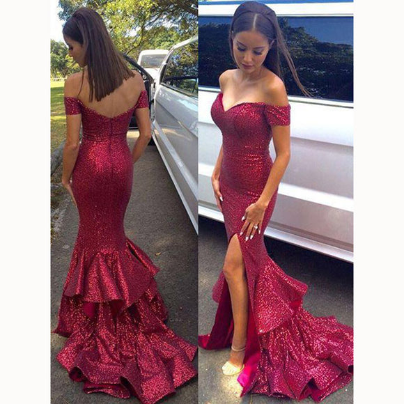 Bling Bling Sequins Prom Dress Mermaid Slit Evening Dresses abiti da cerimonia da sera