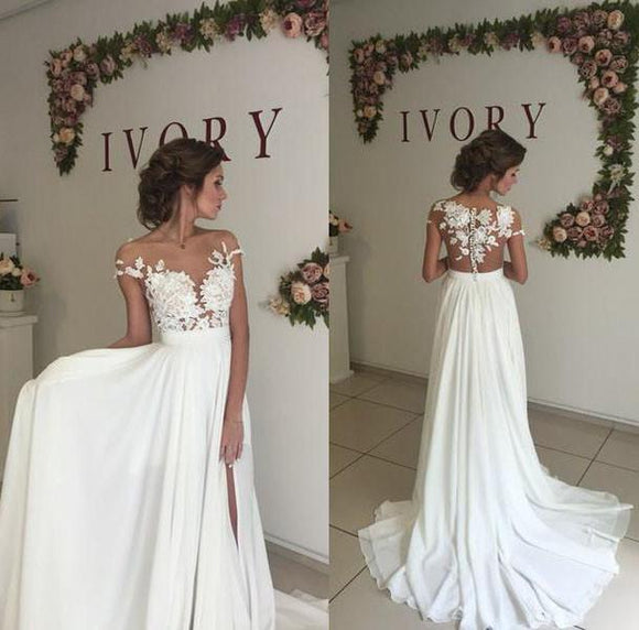 Siaoryne LO0926 Sexy Nude See Through Lace Cap Sleeves Split Long Chiffon Beach Wedding Dresses bridal gown chiffon