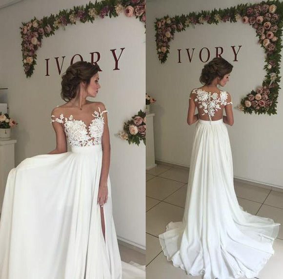 Lace and Chiffon Illusion Cap Sleeves Beach Wedding Dress boho Bridal Gown 2019