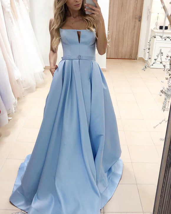 Unique Style Strapless Satin A Line Sky Blue Long Formal Prom Party Gown PL01209