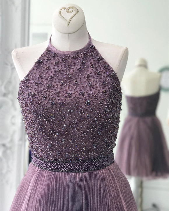 Short Halter Beading Tulle Homecoming Dress short Prom Party 2017