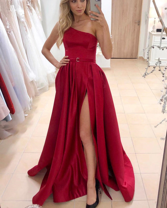 Sexy One Shoulder Wine Red Prom Evening Dress Long with high Slit PL012131
