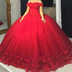 Romantic Red Quinceanera Dress With Handmade Flowers Ball Gown Prom Gown  vestidos de 15 anos