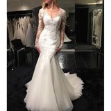Sexy See Through Long Sleeves V Neck Mermaid Fishtail Wedding Dresses