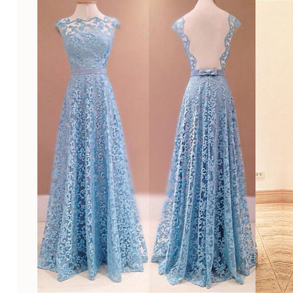 Fancy Blue Lace Boat Neck Open Back Prom Dresses Long Women Formal Evening Gown 2018