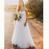 Romantic Tulle Sweetheart A Line Beach Wedding Dress Boho Bridal Gowns 2018 brautkleider hochzeitskleid