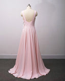 Blush Pink Bridesmaid Dresses Long Women Sexy Slit V Neck Women Wedding Party Gown