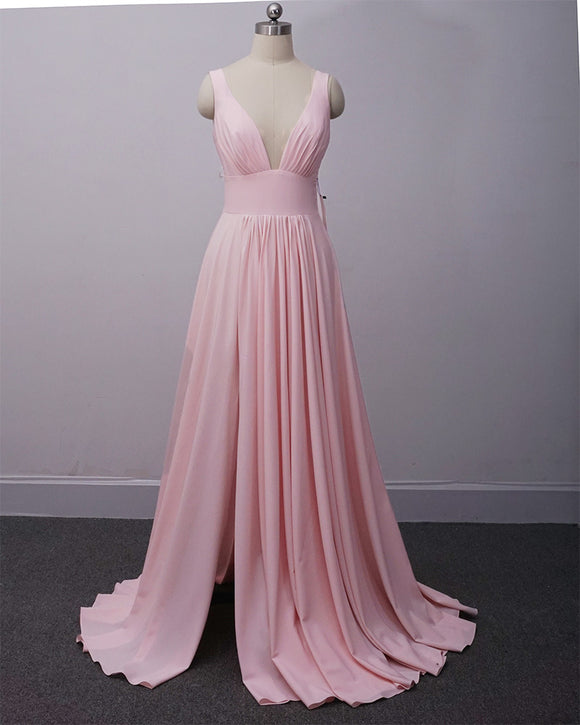 Pink Summer V Neck Bridesmaid Dresses Long PL210