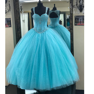 Baby Blue Bling Bling Ball Gown Quinceanera Dress Debutante Girls Sweet 16 Party Dress 2018 with Steaps