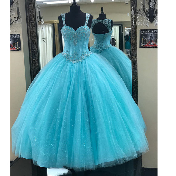 Baby Blue Bling Bling Ball Gown Quinceanera Dress Debutante Girls Sweet 16 Party Dress 2020 with Steaps