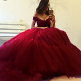 Dreamy vestido de formatura longo Red Ball Gown Prom Dresses Tulle Off the Shoulder Formal Gown
