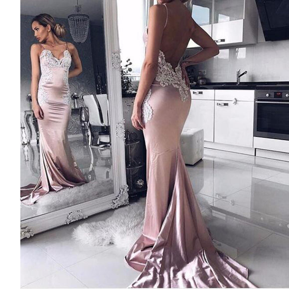 Sexy Backless Rose Pink Satin Mermaid Prom Dress lace Appliqued Formal Evening Dresses with Spaghetti Straps  LP1322