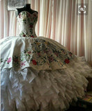 Siaoryne WD027 ball Gown Luxury Embroidery lace Princess Wedding Dress Quinceanera Gowns