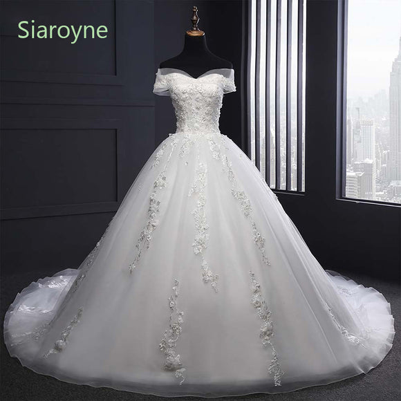 Luxury Off Shoulder Court Train Lace Wedding Dresses  White Bridal Gown A Line Robe De Mariee WD610