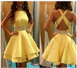 Halter A Line  Junior Prom Dress Short 8th Grade Semi Formal Party Gown Girls Homecoming Dress Short with Beading Belt SP245