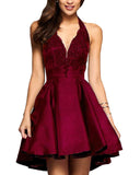 Burgundy Halter V Neck Short Lace Appliqued Homecoming Dress Short Cocktail Party Dresses SP0171