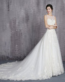 2019 Boat Neck A Line Elegant Bride Gown Romantic Lace White Wedding Dress WD541