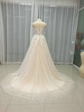 Champagne Beach Summer Wedding Gown Lace Bridal Dresses WD047
