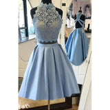 Stylish Sky Blue 2 Pieces Homecoming Dress Short Girls Graduation Gown SP210
