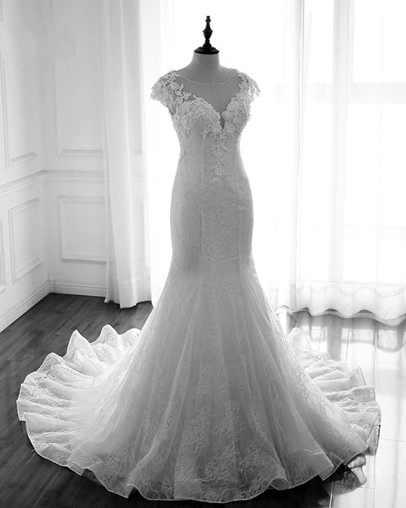 Vintage Wedding Dress mermaid for bride with Cap Sleeves Court Train WD685