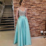 Elegant Blue Silver A Line Long satin Beaded Prom Dresses Evening Formal Gowns for women