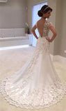 Classy White Backless Lace Mermaid Bride Dresses 2020 V-Neck Short Sleeve Wedding Gown Hochzeitskleid Robe de mariage