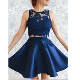 Navy Blue Scoop Neck Two Pieces Short Homecoming Dress Junior Graduation Short Gown