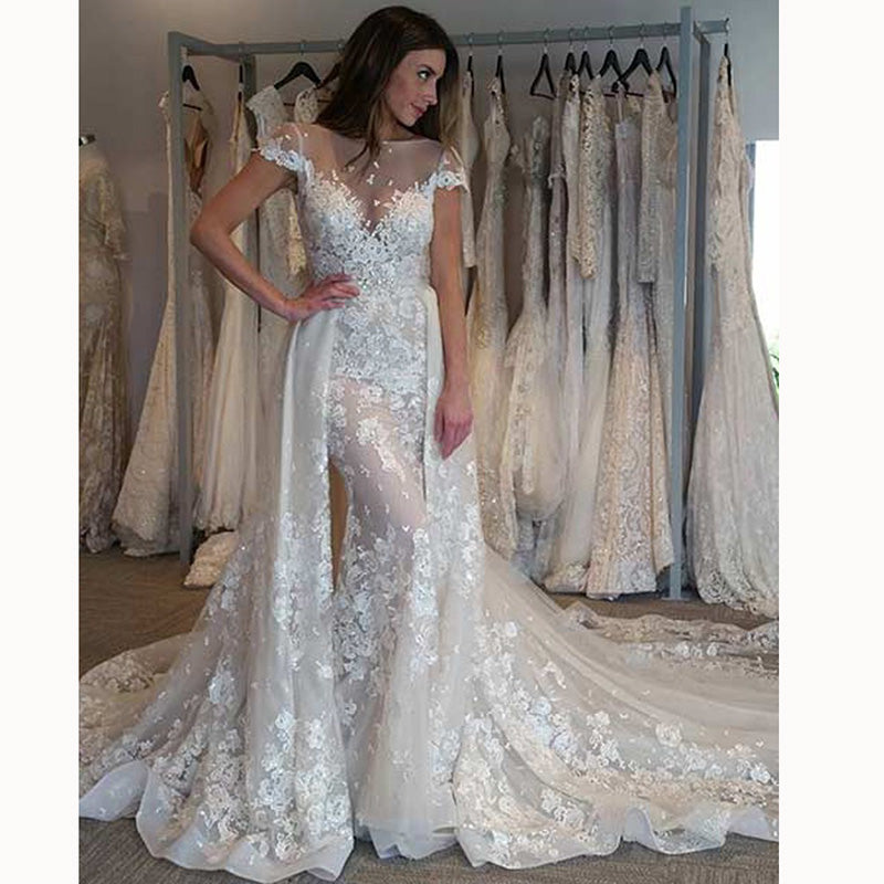 Mermaid Lace Wedding Gown: Luxury Detachable Train Lace Mermaid Wedding Gown 2018