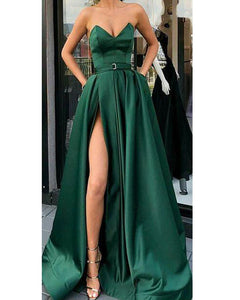 Dark Green outfit Corset Sweetheart Long Prom Party dresses with Belt High Slit Leg PL541