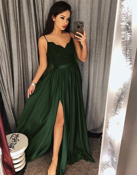 Green Evening Long Party Dresses with Lace PL1451