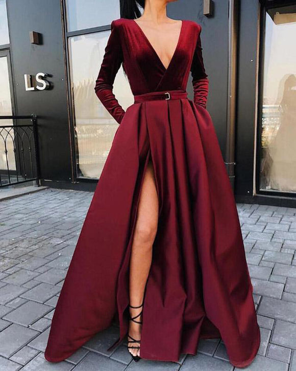 Velvet and Satin Long Sleeves Burgundy Women Red Evening Dresses Long PL2102