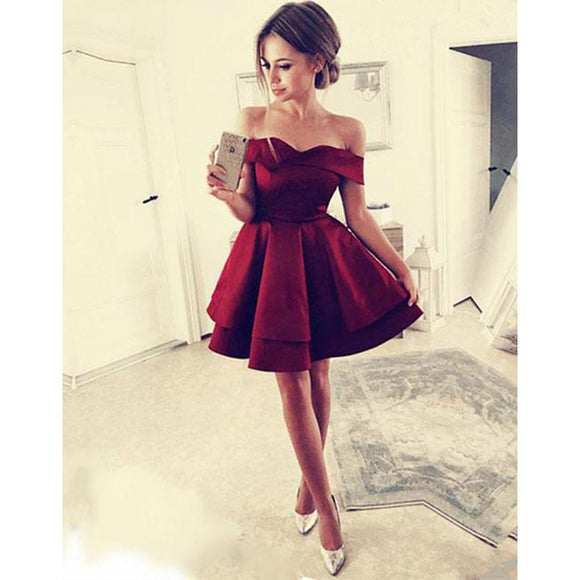 Burgundy Off Shoulder Short  homecoming Prom Dress 8 grade graduation dresses Semi Formal Girls Party Gown