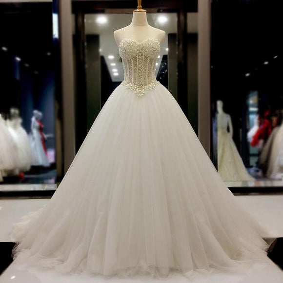 Sweetheart Pearl Beading Ball Gown Wedding Dress bridal Dresses vestido De Novias