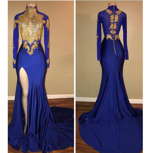High Neck Royal Blue and Gold Lace Evening Dress Long African Girls prom Formal Gown  with Sexy Slit
