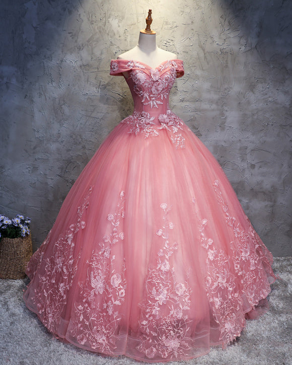 Pink Off the Shoulder Lace Flowers Ball Gown Prom Dress Sweet 15 years Debutante Quinceanera Gown
