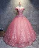 Pink Off the Shoulder Lace Flowers Ball Gown Prom Dress Sweet 15 /16 years Debutante Quinceanera Gown