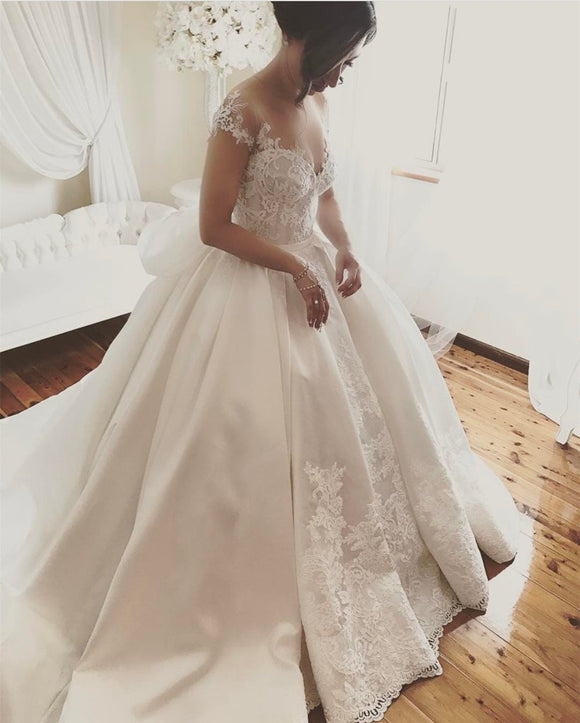 New Luxury Embroidery lace satin Wedding Dresses Princess Bridal Gown