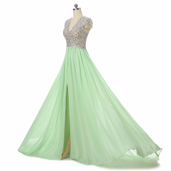 Siaoryne LP007 Cap Sleeves Crystal Long Chiffon Prom Dresses with sexy Split