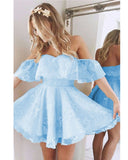 Lovely Baby Blue/Blush Pink off the shoulder Short Lace Homecoming Prom Dresses Girls Short Cocktail Gown SP578