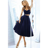 Two Pieces Short Prom Dress Navy Homecoming Party Gown Semi Formal Gown LP0214