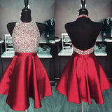 Red Beaded Short Halter Cocktail Homecoming Dress Semi Formal Gown Girls Party Gown SP065