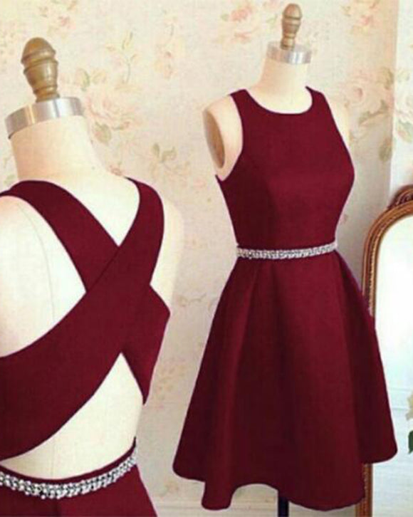 Wine Red Short Homecoming Dress Girls Semi Formal Party Gown for 8th Junior Prom