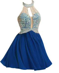 Siaoryne Chiffon A Line high neck short prom dress beading homecoming dresses