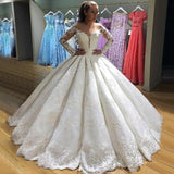 Luxury Lace Wedding Dress Princess Ball Gown White Bridal Gown with Long Sleeves WD626