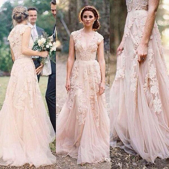 WD0212 Blush Pink Cap Sleeves Lace Bridal Gown,A Line Country Wedding Dresses Cheap Gown Vestido De Novias