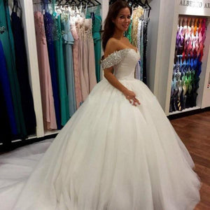 Off Shoulder Wedding Dress,Ball Gown Wedding Dress, Sweetheart Wedding Dress,Crystals Wedding