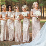 Gold Sequins Bridesmaid Dress with Short Sleeve ,Long Women Evening Party Gowns,prom dress gold